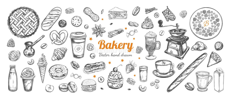 Vecteur de café et de boulangerie tiré par la main, éléments illustration de vecteur