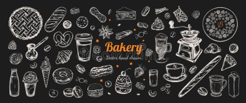 Vecteur de café et de boulangerie tiré par la main, éléments illustration stock