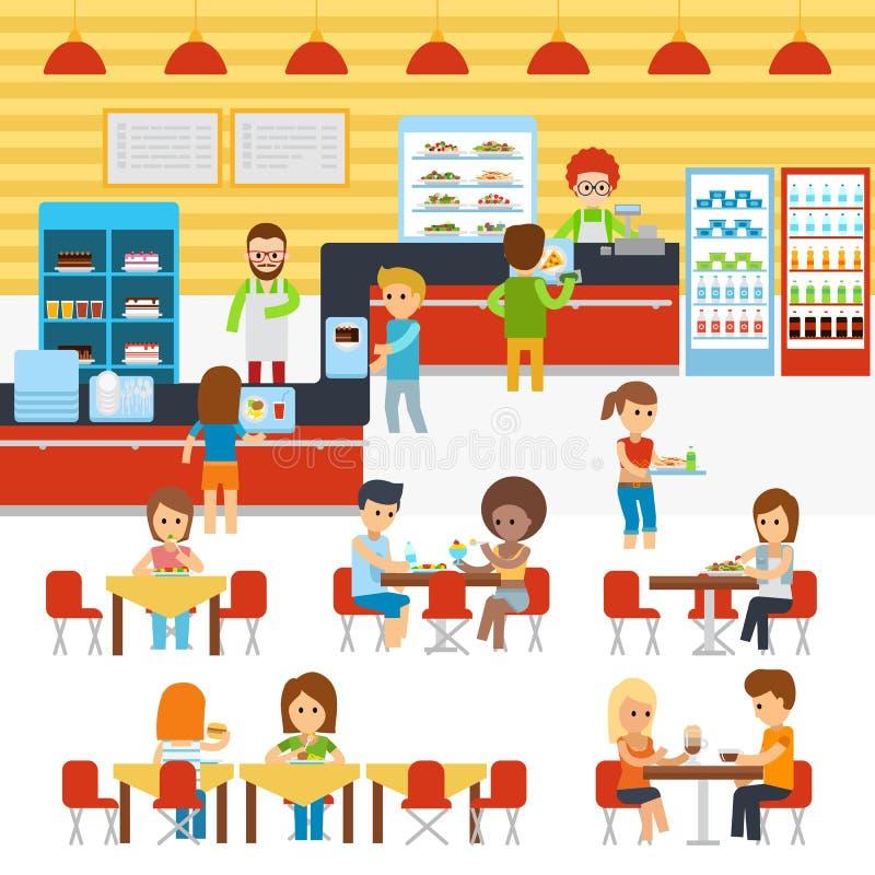 Vecteur de cafétéria, les gens dans la cantine, les gens mangeant dans le cafétéria Chaud fraîchement cuit de restaurant et de ca illustration stock