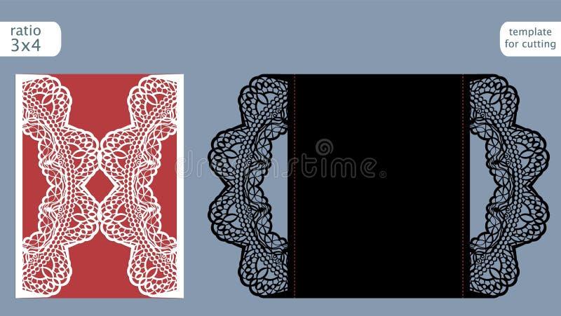 Vecteur de calibre de carte d'invitation de mariage de coupe de laser Découpez la carte avec des matrices de papier avec le modèl illustration de vecteur