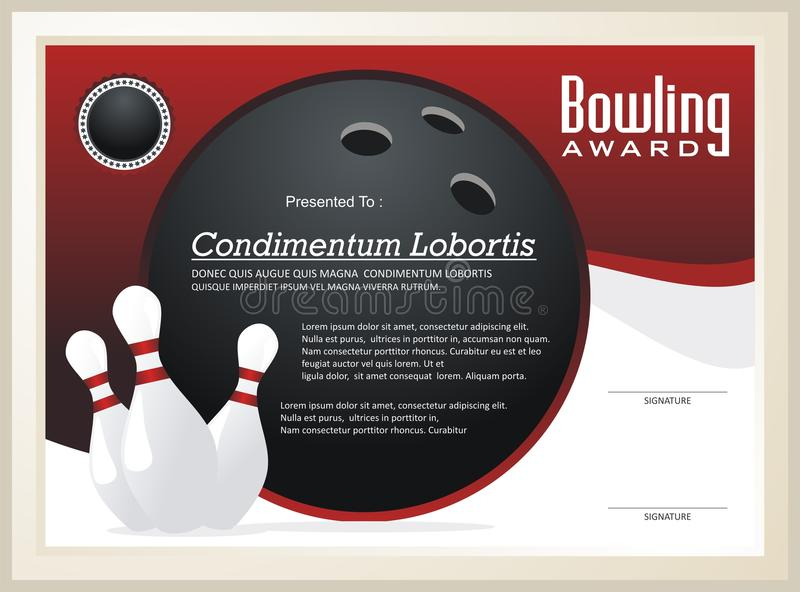Vecteur de calibre de certificat/récompense de bowling illustration de vecteur