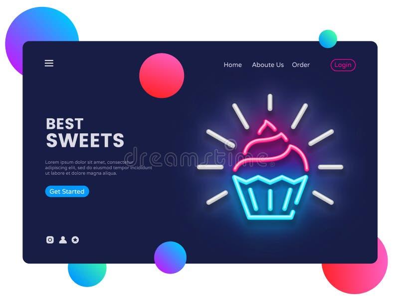 Vecteur de calibre de conception de boutique de bonbons Interface de bannière de Web de boutique de sucrerie, enseigne au néon, c illustration libre de droits