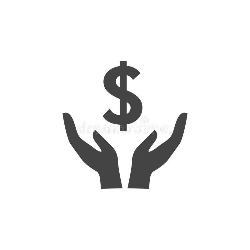 Vecteur de calibre de conception graphique d'icône de main du dollar illustration libre de droits