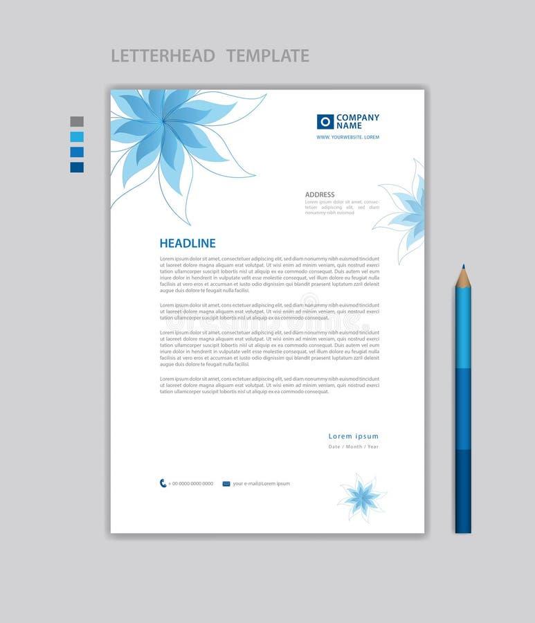 Vecteur de calibre d'en-tête de lettre, style minimaliste, imprimant la conception, disposition de publicité d'affaires, fond ble illustration de vecteur