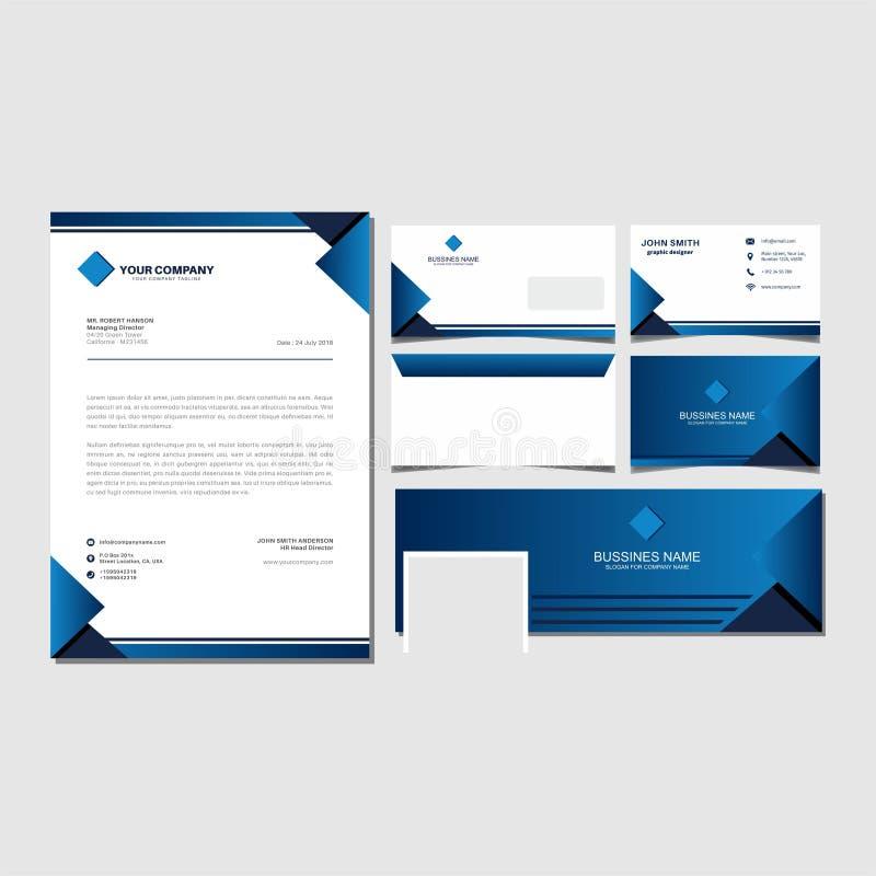 Vecteur de calibre d'identité d'entreprise et envalop réglés, carte de visite professionnelle de visite, vecteur de couverture de photo libre de droits