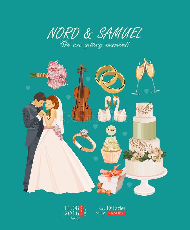 Vecteur de calibre d'invitation de vintage de mariage avec des jeunes mariés illustration stock