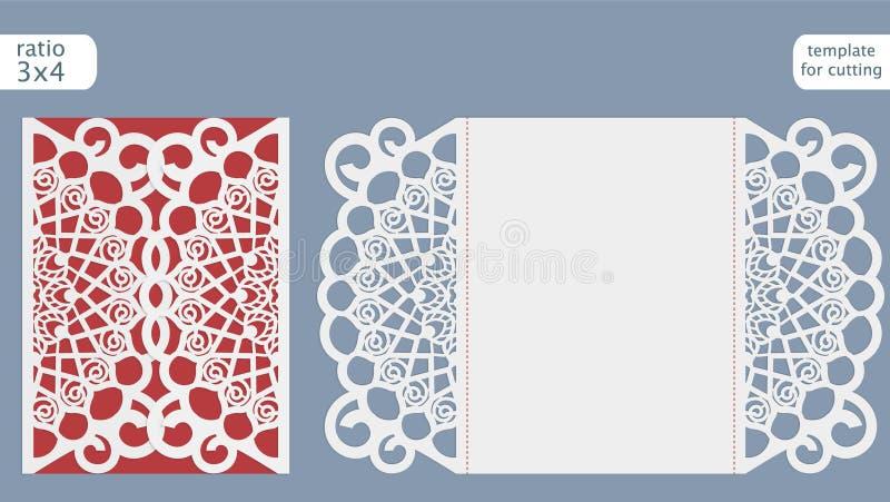 Vecteur de calibre de carte d'invitation de mariage de coupe de laser Découpez la carte avec des matrices de papier avec le modèl illustration stock