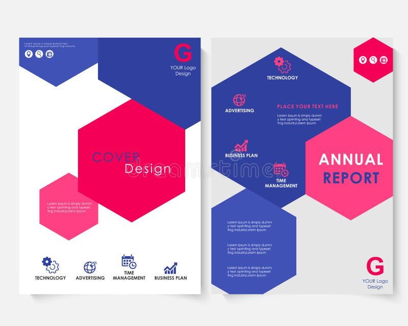 Vecteur de calibre de conception de couverture de rapport annuel d'hexagone de couleur Portfolio de site Web de présentation de c illustration stock