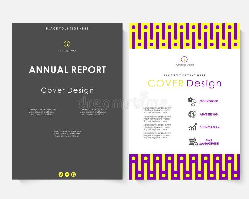Vecteur de calibre de conception de couverture de rapport annuel de place noire Portfolio de site Web de présentation de concept  illustration stock