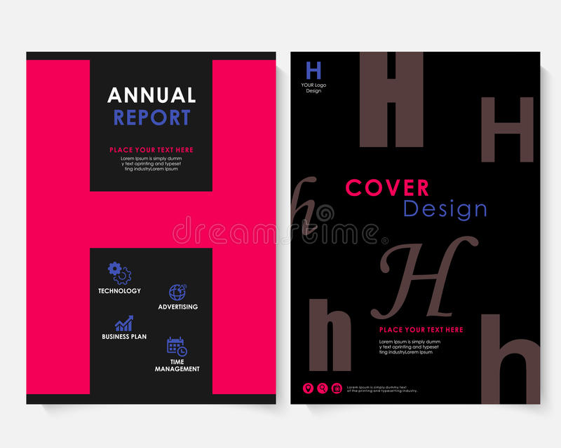 Vecteur de calibre de conception de couverture de rapport annuel de place rouge Portfolio de site Web de présentation de concept  illustration libre de droits