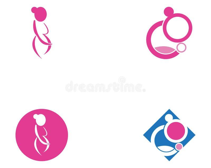 Vecteur de calibre de logo de grossesse de femme illustration libre de droits