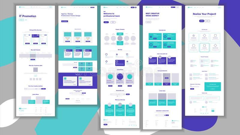 Vecteur de calibre de site Web Projet d'affaires de page Page Web en ligne de achat d'atterrissage Directeur Meeting Concept d'en illustration libre de droits