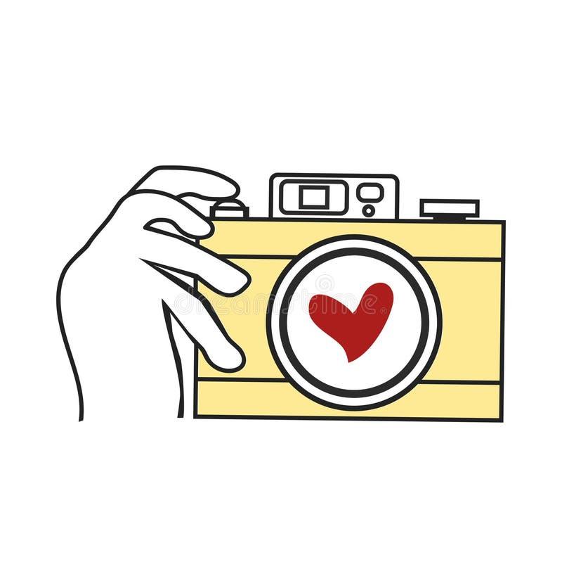 Vecteur de caméra de participation de main illustration stock