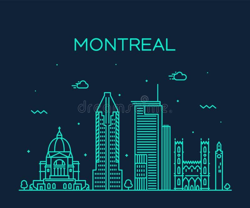 Vecteur de Canada du Québec d'horizon de ville de Montréal linéaire illustration libre de droits