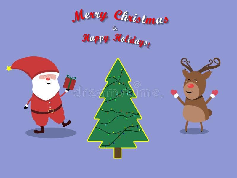 Vecteur de caractères de renne et de Santa Christmas de Joyeux Noël image stock