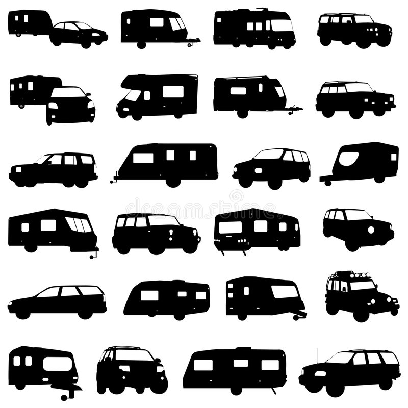 vecteur de caravane et de jeep illustration stock