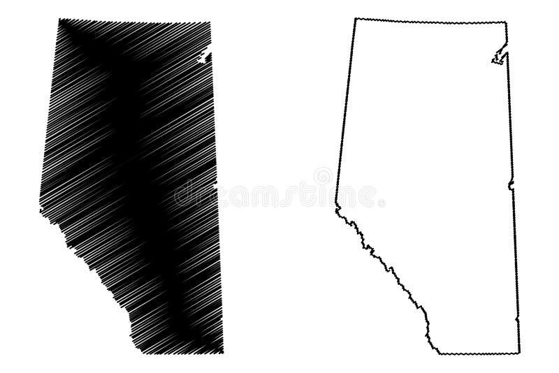 Vecteur de carte d'Alberta Canada illustration stock