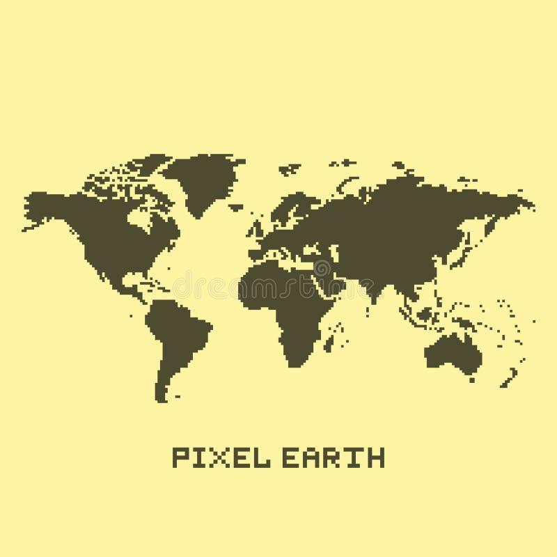 Vecteur de carte de la terre d'isolement par art de pixel illustration de vecteur