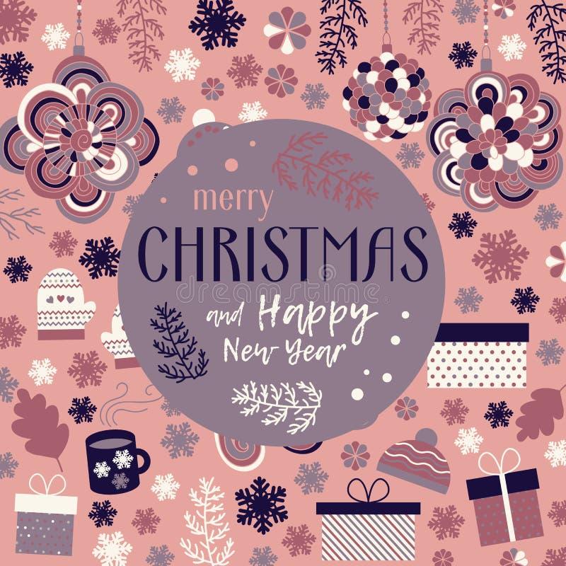 Vecteur de carte de voeux de Noël illustration libre de droits
