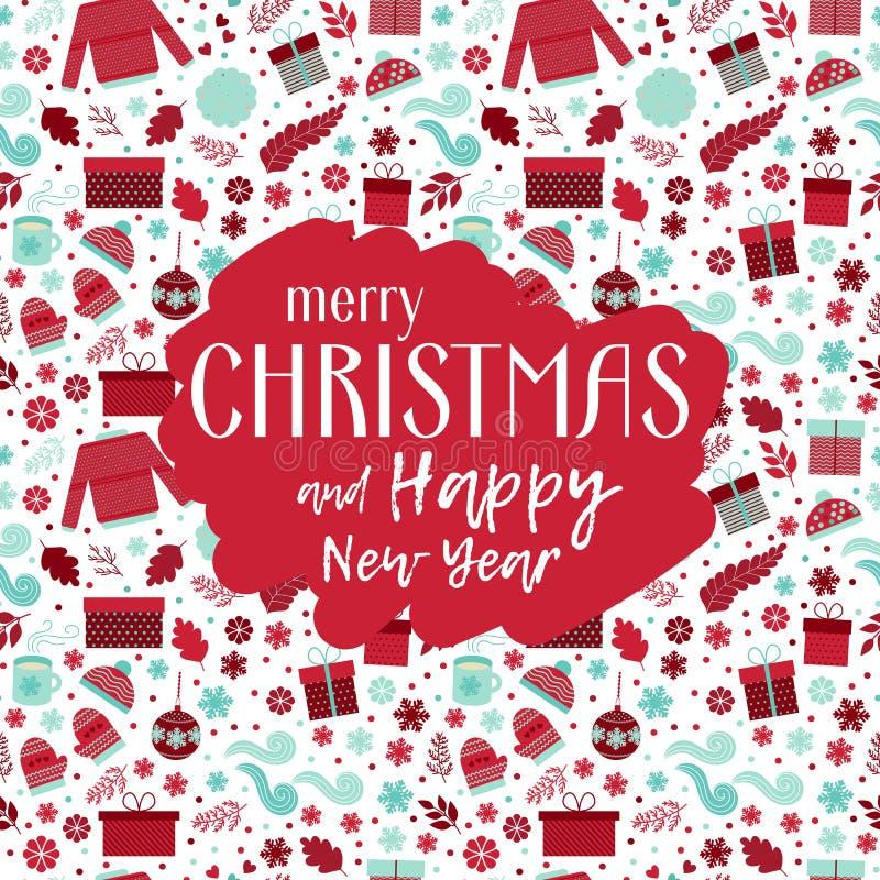 Vecteur de carte de voeux de Noël illustration stock