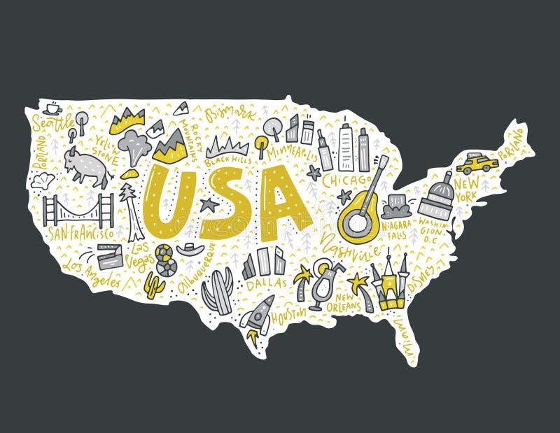 Vecteur de carte des Etats-Unis illustration libre de droits