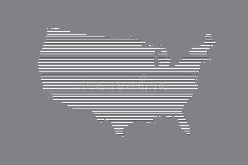 Vecteur de carte des Etats-Unis d'Amérique utilisant les lignes droites blanches sur le fond noir illustration stock