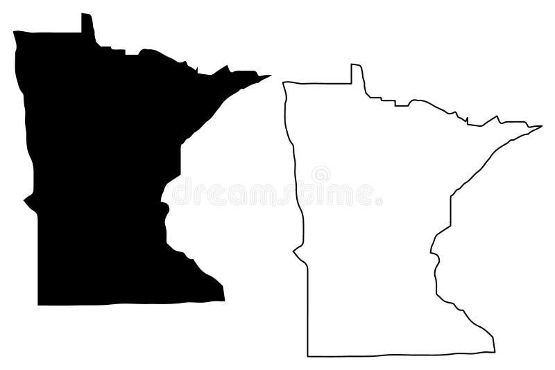 Vecteur de carte du Minnesota illustration libre de droits