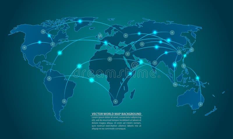 Vecteur de carte du monde avec des concepts de connexion réseau illustration libre de droits