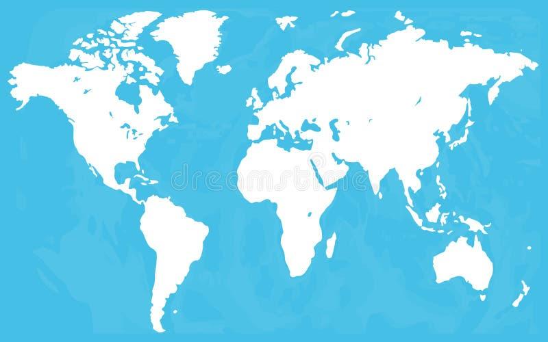 Vecteur de carte du monde, d'isolement sur le fond blanc La terre plate, calibre bleu de carte pour le modèle de site Web, rappor illustration de vecteur