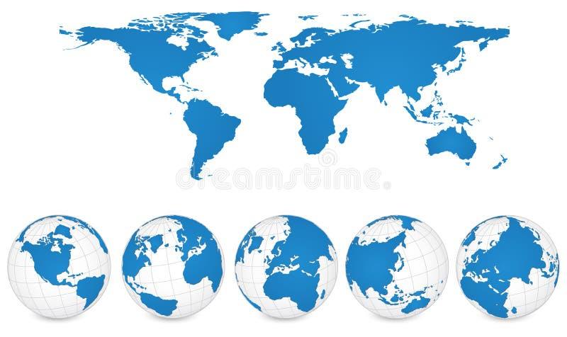 Carte du monde et illustration de vecteur de petit groupe de globe. illustration libre de droits