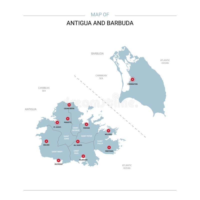 Vecteur de carte de l'Antigua-et-Barbuda avec la goupille rouge illustration libre de droits