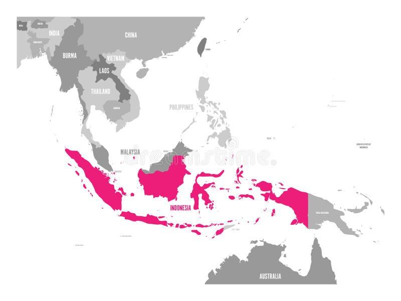 vecteur de carte de l'Indonésie Rose accentué dans la région d'Asie du Sud-Est illustration stock