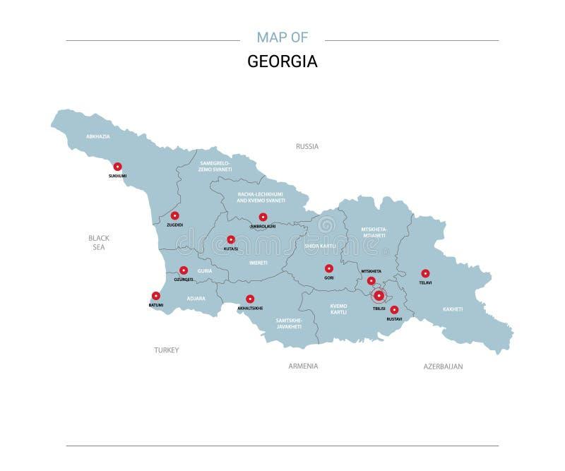 Vecteur de carte de la Géorgie avec la goupille rouge illustration de vecteur