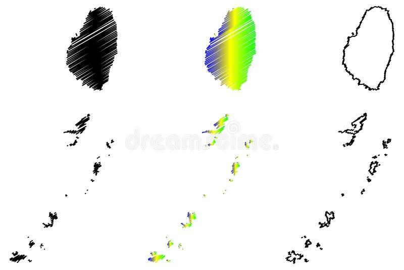 Vecteur de carte de Saint-Vincent-et-les-Grenadines illustration libre de droits