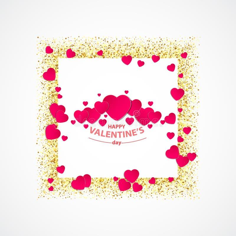 Vecteur de carte de voeux de jour de valentines avec le coeur de scintillement d'or, le cadre d'or, les couples des coeurs rouges illustration stock