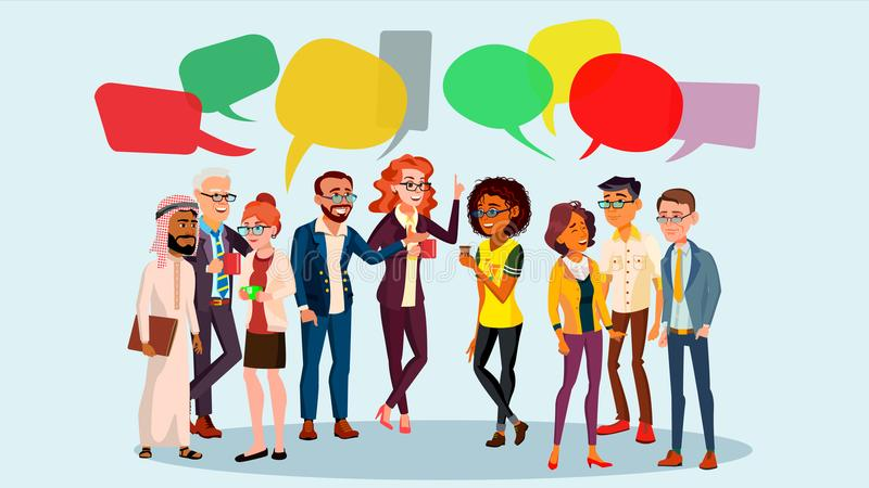Vecteur de causerie de groupe de personnes Gens d'affaires Réseau de Social de communication Groupe social Bulles de la parole Il illustration de vecteur