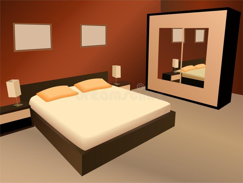 Vecteur de chambre à coucher de Brown illustration de vecteur