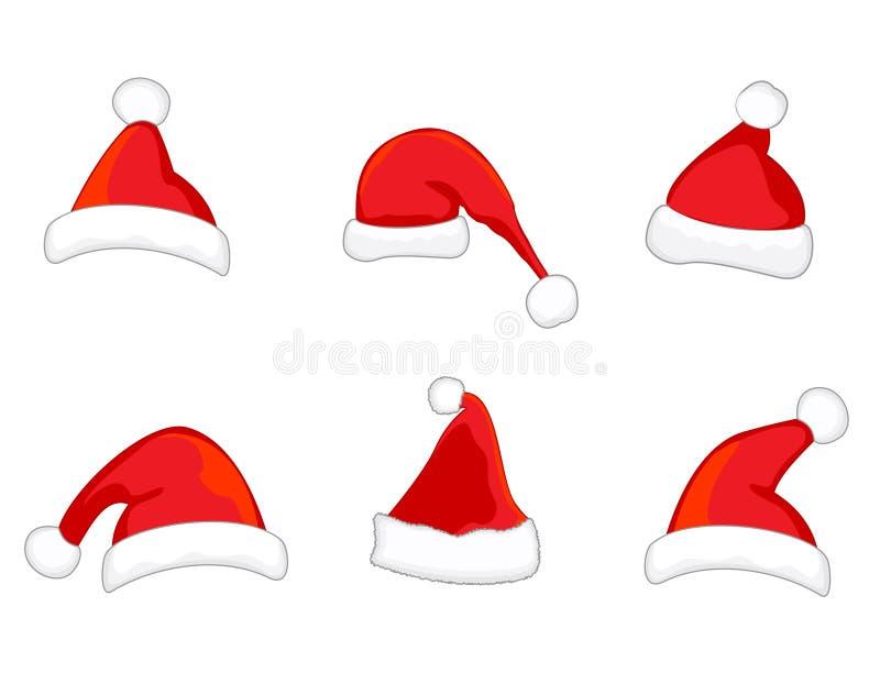 Vecteur de chapeaux de Santa illustration stock