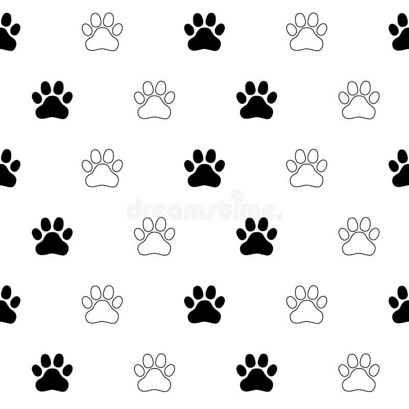 Vecteur de chaton de Paw Cat Paw de chien sans couture illustration libre de droits