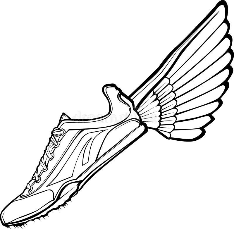 Vecteur de chaussure et d'aile de piste illustration libre de droits