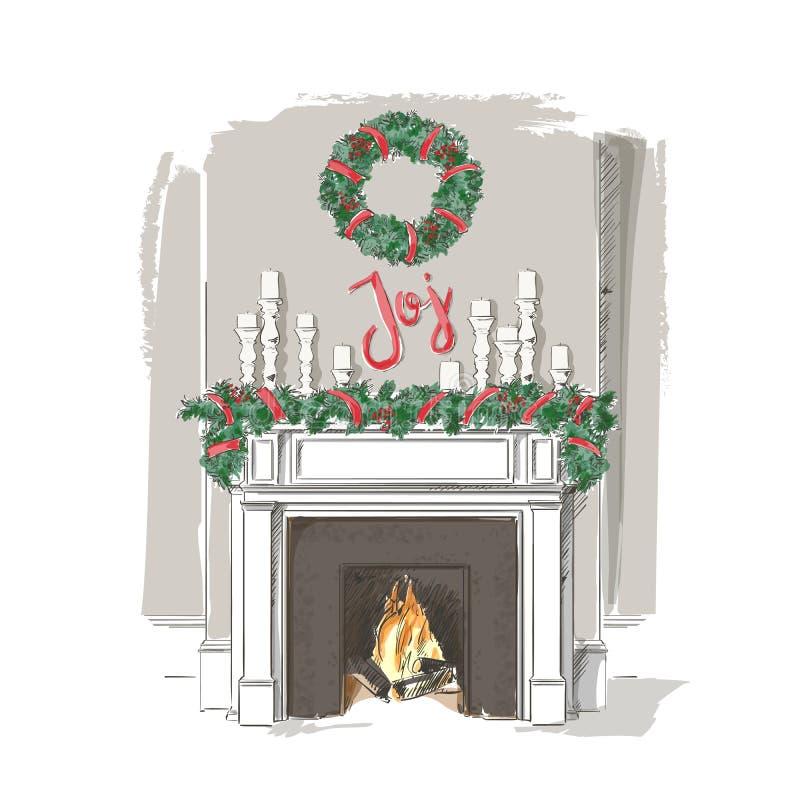 Vecteur de cheminée de Noël illustration libre de droits