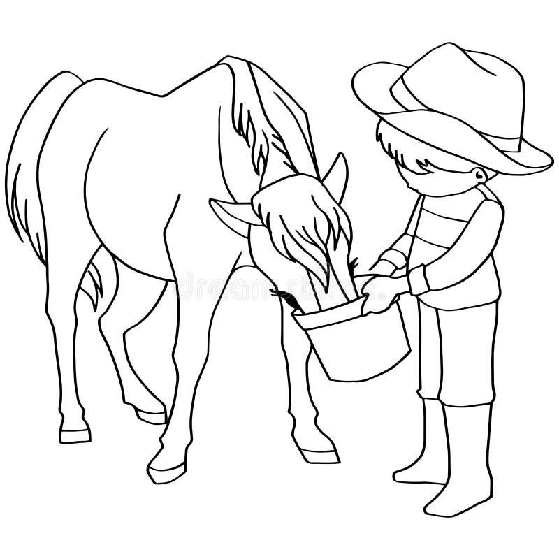 Vecteur de chevaux d'alimentation des enfants de livre de coloriage illustration de vecteur
