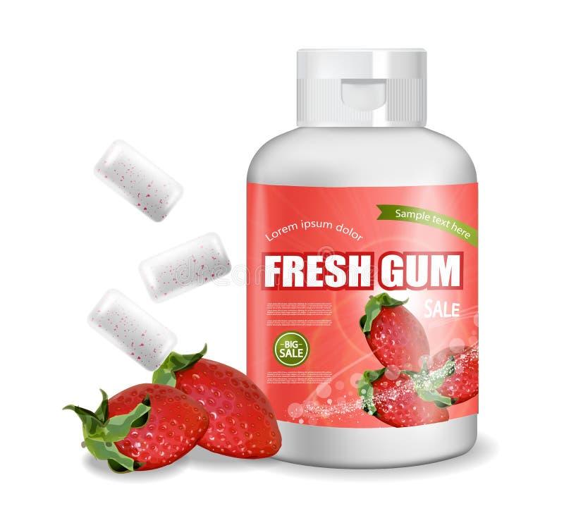 Vecteur de chewing-gum réaliste Conception détaillée de label de placement de produit Bouteilles de empaquetage Saveur de fruit d illustration stock