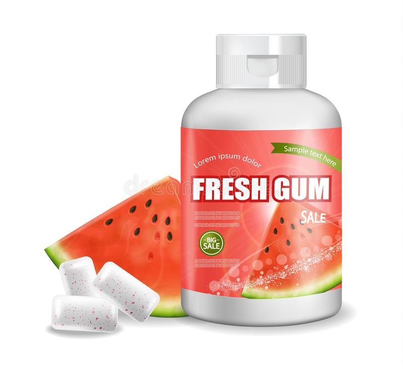 Vecteur de chewing-gum réaliste Conception détaillée de label de placement de produit Bouteilles de empaquetage Saveur de pastèqu illustration libre de droits