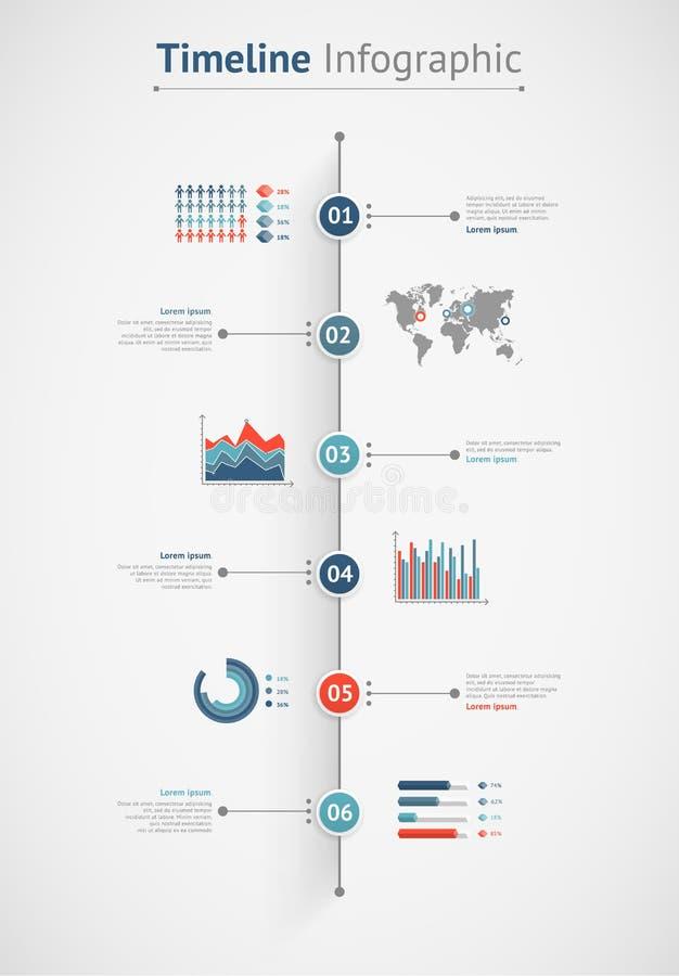 Vecteur de chronologie infographic Carte du monde illustration libre de droits