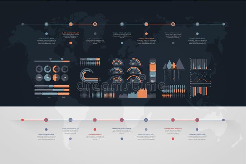 Vecteur de chronologie infographic Carte du monde illustration de vecteur