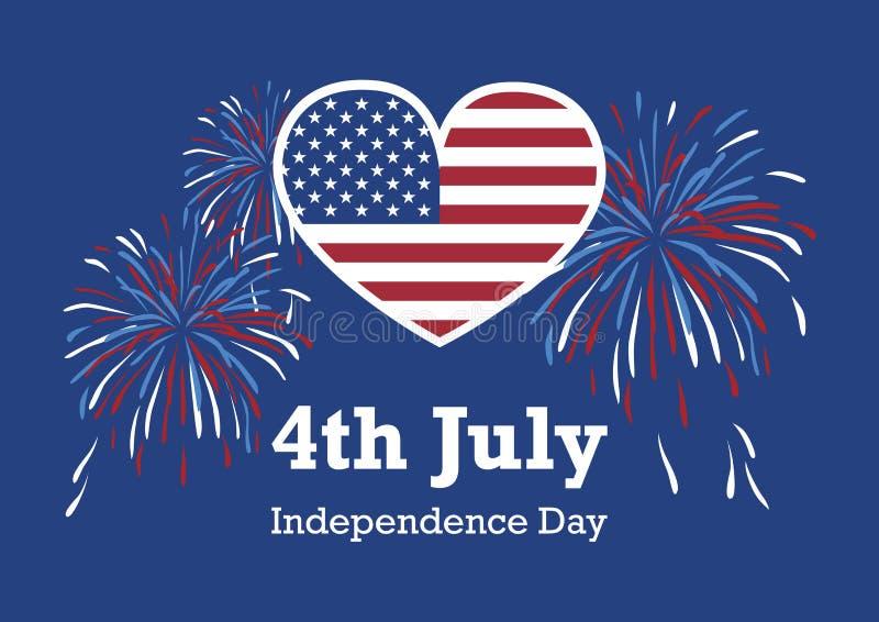 Vecteur de coeur de drapeau américain de Jour de la Déclaration d'Indépendance des Etats-Unis illustration stock
