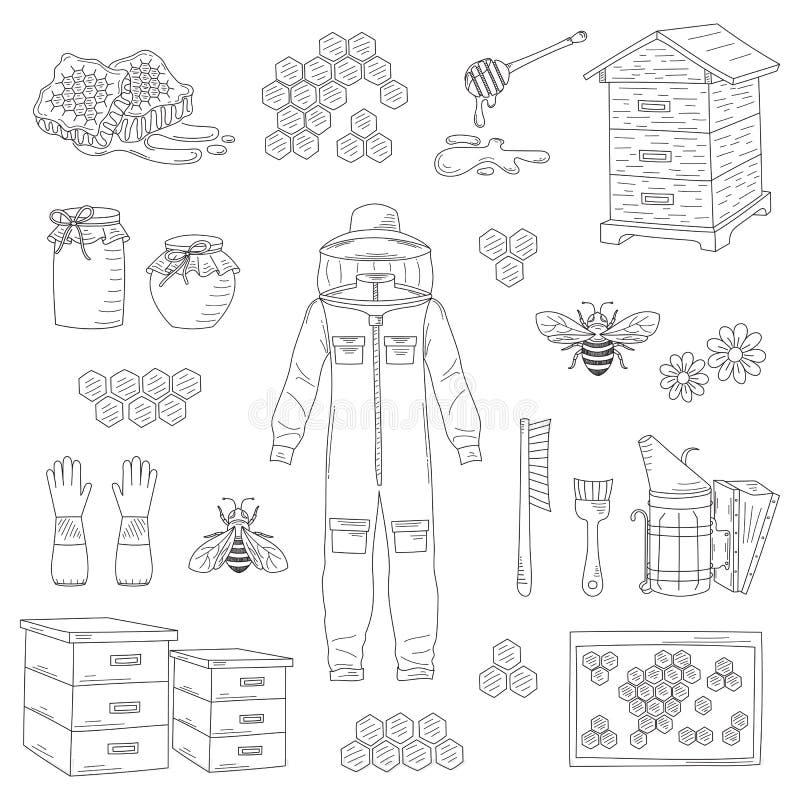Vecteur de collection d'équipement de l'apiculture illustration de vecteur