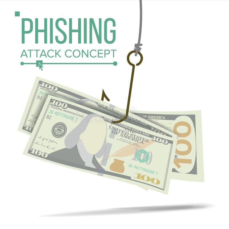Vecteur de concept d'argent de Phishing Faillite financière Entailler l'attaque Illustration de dessin animé illustration stock
