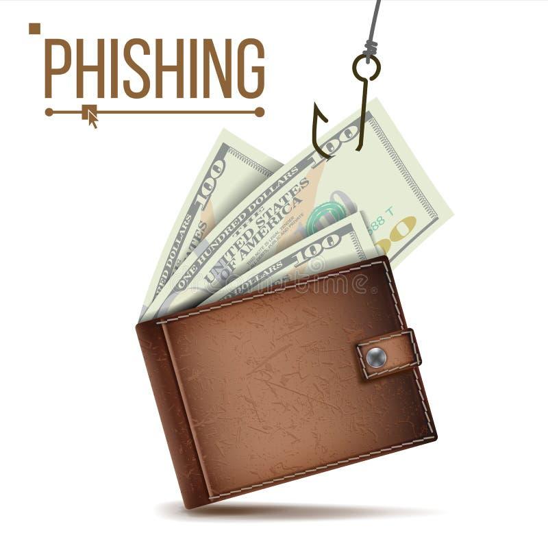 Vecteur de concept d'argent de Phishing Sécurité d'Internet Crime de Cyber Illustration de dessin animé illustration de vecteur